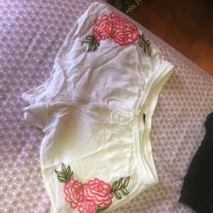 white floral pink shorts